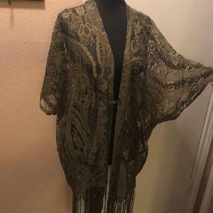 Tops - EUC army green lace shawl.  Size medium.